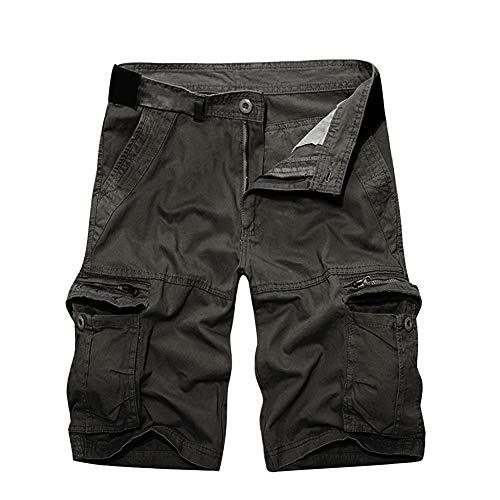 Herrbar Herren Cargo Shorts Baumwolle Bermuda Vintage Casual Kurz Hose (Grau, W32)
