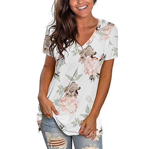FOTBIMK Camisetas de algodón con cuello en V para mujer, manga corta, holgada, lisa, cuello en V, camiseta 8-16