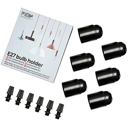 E27 Lampenfassung Glühbirnenfassung E27 Fassung Bakelit Lampensockel Schraubring für DIY-Hängelampen schwarzer Lampenhalter PEBA (6 Pack)