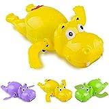 PULABO 1 pieza de dibujos animados natación hipopótamo animal reloj viento diversión baño agua niños juguete color al azar durable y útil creativo