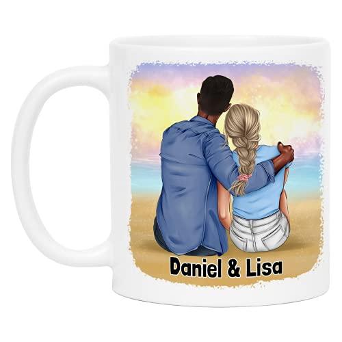 Kiddle-Design Pärchen-Tasse Personalisiert mit Namen Geschenk für Pärchen Freund und Freundin Jahrestag Hochzeitstag Individuelle Pärchen Kaffee-Tasse
