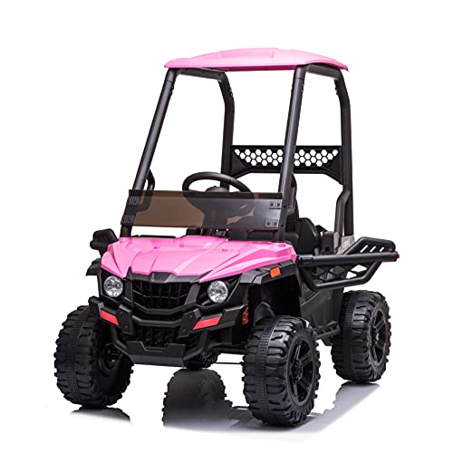 JIMUPARK 12V Electric Ride on Cars, Realistic Off-Road UTV with Ceiling, Motorized Vehicles for Kids, with Remote Control, Music, Story, Wearable Wheels, 3 Speed, Spring Suspension, LED Light -  JIMU-W42229401
