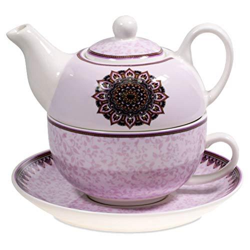 Satya Teiera Mandala Viola con Tazza e piattino Porcellana Bone China microonde e lavastoviglie imballato in Scatola Colorata.