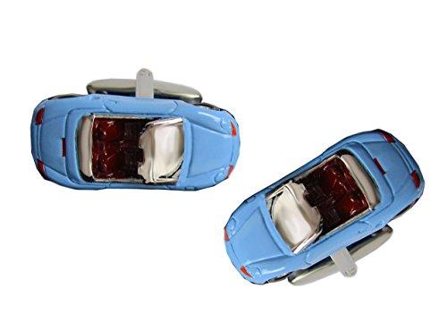 Unbekannt Cabrio Manschettenknöpfe Sportwagen sportliches Auto Fahrzeug überwiegend hellblau + schwarzer Exklusivbox