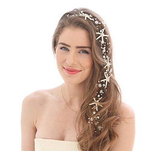 Unicra Hochzeit Seestern Kopfschmuck Braut Hochzeit Haar Rebe Haarschmuck für Bräute und Brautjungfern (23,6 Zoll) (Silber)