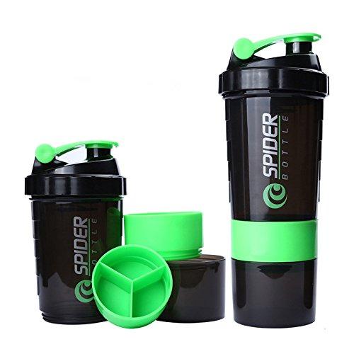 Aisence - Botella mezcladora de agua con compartimentos de almacenamiento a prueba de fugas