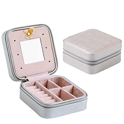 NNGT Joyero, Joyero de Cuero Artificial, Mini Caja de Almacenamiento para Anillos Pendientes Collares Joyero con Espejo para Mujeres niñas