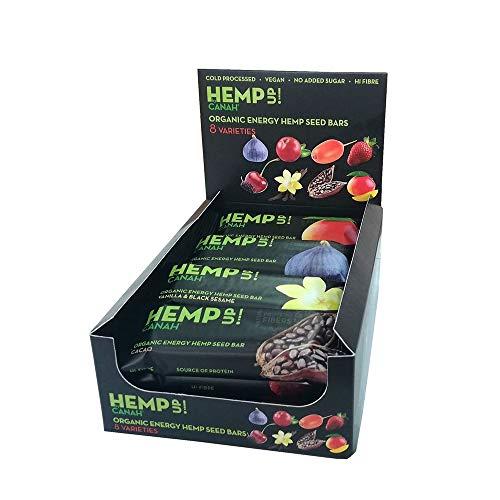 Canah Hemp Up Barras de Energía Orgánica con Semillas de Cáñamo, Paquete Mezclado de 12 x 48 grams 100% Natural, Fuente de Proteína, Sin Gluten, Procesado en Frío