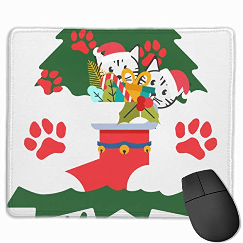 Meowy Christmas Cat Green Tree Hässliches Weihnachts-Mauspad, rutschfeste Mausmatte für Desktops, Computer, PC und Laptops, kundenspezifisches Mauspad