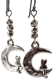Cat on Moon Charm Earrings with Niobium Ear Wires for Sensitive Ears