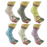 Bonamart 1 Paar Zehensocken Damen Lustige Bunte Socken, Baumwolle Zehen Zehensocken Toe Socks Frauen, M, 6 Paare Verschiedene Farben