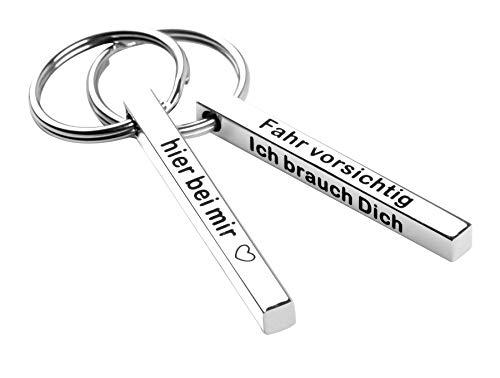 Schlüsselanhänger Fahr vorsichtig ich brauch Dich - Geschenk für Freund Freundin Pärchen zum Jahrestag aus Liebe - Partner mit Gravur mit Herz (Fahr vorsichtig)