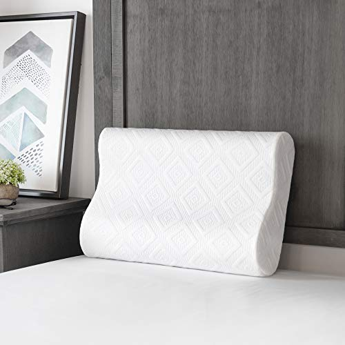 SensorPEDIC Solutions by SensorGel Contour Memory Foam Side and Back Sleepers Bed Pillow, Oversized, White