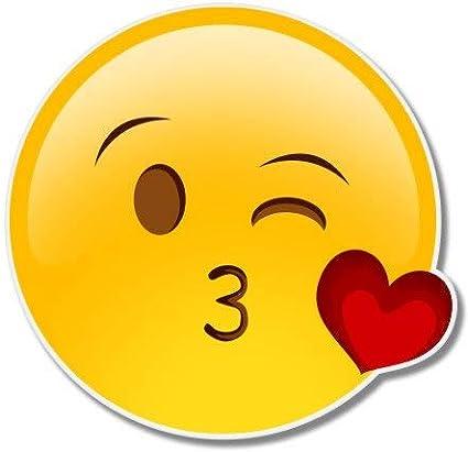 Ak Wall Art Kiss Wink Cute Emoji Vinyl Sticker Car Phone Helmet Select Size Home Kitchen Amazon Com
