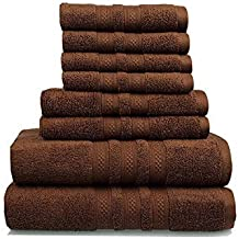 Soft Linen 8-Piece Cotton Premium & Luxury Towel Set for Hotel, Spa, Bathroom & Kitchen, 2 Bath Towels, 2 Hand Towels & 2 ...