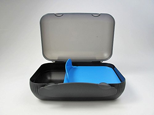 TUPPERWARE To Go Lunch-Box schwarz blau mit Teller Brotbox Sandwich Brotdose 7254