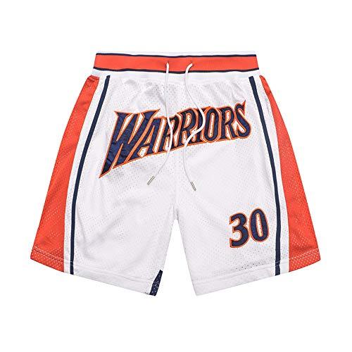 HEJX Warriors 30 Pantalones de Baloncesto Curry Pantalones Cortos Deportivos Retro Pantalones Cortos de Baloncesto Callejero 3-XL