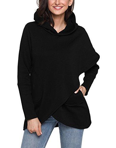Dokoll Women's Hooded Long Sleeve Asymmetric Hem Wrap Solid Color Pocket Sweatshirt Tops Blouse Outwear Pullover Hoodies (Black, M (US 8-10))