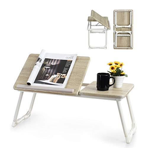 Betttablett Laptoptisch Einstellbare Notebooktisch Höhenverstellbar Betttisch Frühstückstisch,Notebookständer Lese Tisch Schreibtisch Faltbare Beine für Sofa, Bett,Computer,PC,weiß