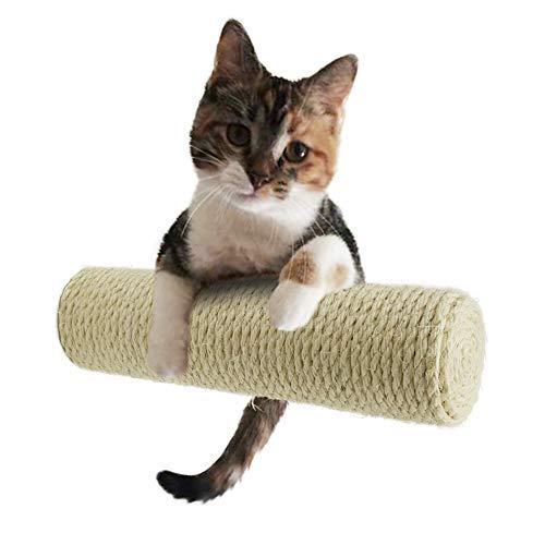 MOUHIV 1Pcs Tiragraffi Sisal, Scratcher fissato al Muro, Cat Stairs, Kitty Climbing Steps, Kitten Shelving Ladder, Compatibile con Cat Tree, Fatto a Mano, Bianco 30cm