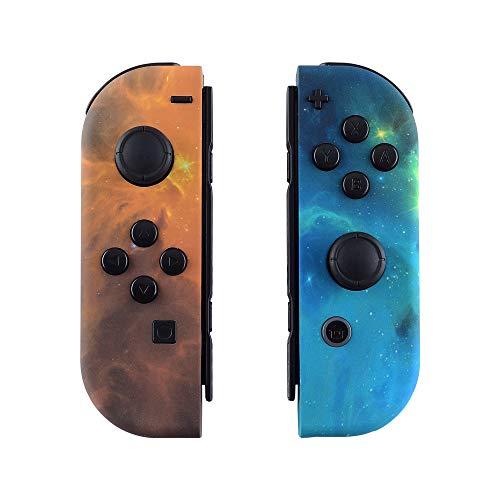 eXtremeRate Cover Impugnatura Custodia JoyCon Controller Case DIY Ricambio per Nintendo Switch Joy-Con(Galassia Arancione)con Kit di Pulsanti-NON Include JoyCon