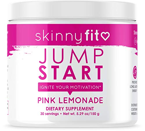 SkinnyFit Jump Start Pre Workout Supplement for Women 30 Servings - Creatine Free Powdered Mix Drink to Help Increase Energy, Focus, and Endurance, Pink Lemonade Flavor