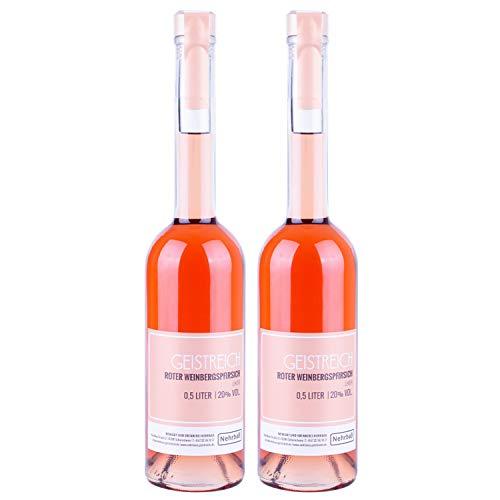 Nehrbaß - 2er Set Roter Weinbergpfirsichlikör á 0,5 Liter - Premium Liköre 20% Vol. - Weinbergpfirsich Likör aus Deutschland (33,00 Euro/Liter)