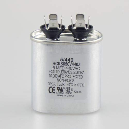 5 uf MFD 370 or 440 VAC Oval Run Capacitor for Fan Motor Blower Condenser in Air Handler Straight Cool or Heat Pump Air Conditioner by The HVAC Genius