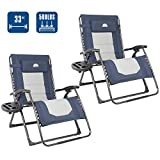 Coastrail Outdoor Oversized Zero Gravity Chair Padded XXL Reclining Folding Patio Lounge Chair Adjustable Recliner with Cup Holder & Side Table, 500lbs Weight Capacity, 2 Pack