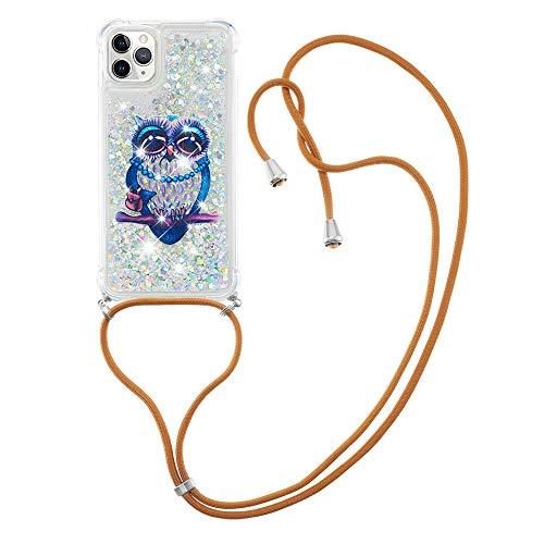 VQWQ Funda con Cuerda para iPhone 11 Pro MAX 6.5' - Carcasa Suave Silicona Case con Ajustable Collar Anti-Choques y Anti- Arañazos Funda Silicone Cover para iPhone 11 Pro MAX 6.5' [Líquido] -Búho