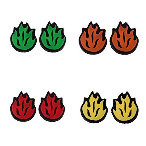 IPOTCH 4 Pares de Amortiguador para Raqueta de Tenis a Prueba de Choques y Vibración en Forma de Llama de Fuego de 4 Colores