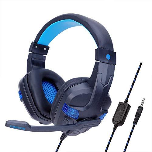 MZZYP Gaming-Headset für PS4, Bass-Surround, Over-Ohr-Gaming-Kopfhörer mit Noise-Cancel-Mikrofon, für Xbox Playstation 4 Laptop Smartphone, rot (Color : Blue)