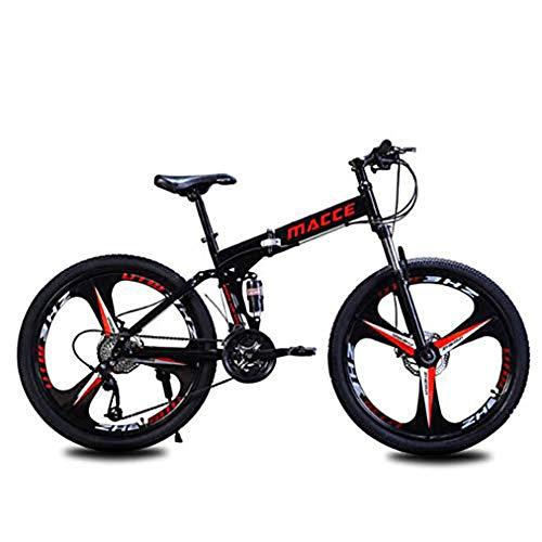 B-D Bicicleta De Montaña Plegable para Adultos, Bicicleta De Montaña De Campo De 24/26 Pulgadas con Doble Freno De Disco Marco De Acero Al Carbono Bicicleta MTB,Negro,26inch