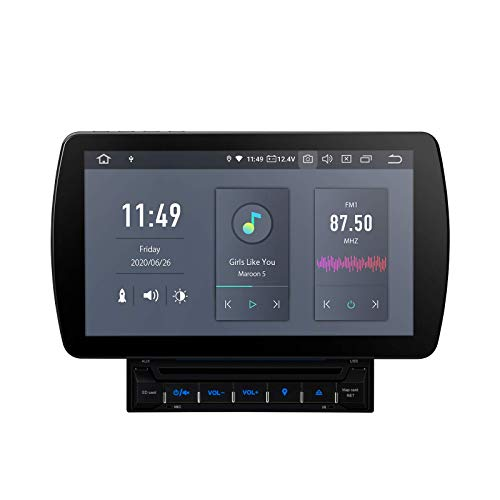 KAUTO 10.1'Android 10 Double DIN Car Stereo Qualcomm Bluetooth Navegación GPS Reproductor de DVD con Salida HDMI Soporte 4K Video Dab + OBD TPMS Screen Mirroring Universal