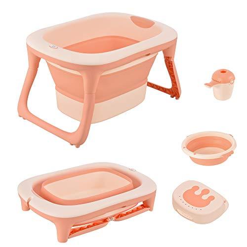 HOMCOM Babybadewanne mit Waschbecken und Shampoobecher, faltbare Babywanne, Badewanne für Baby, Kunststoff, Rosa, 81,5 x 60 x 46,5 cm