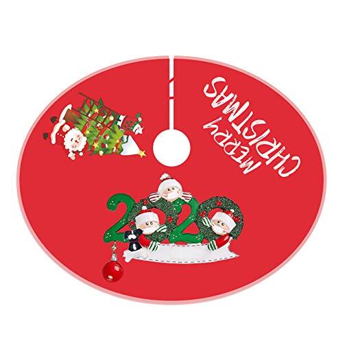 Baumdecke Weihnachtsbaum Rock Christbaumdecke Rund Weihnachtsbaumdecke Christbaumständer Teppich Decke Weihnachtsbaum Deko Weihnachtsschmuck,2020 Überlebende Familie Von 2,3,4,5 Weihnachten 90CM