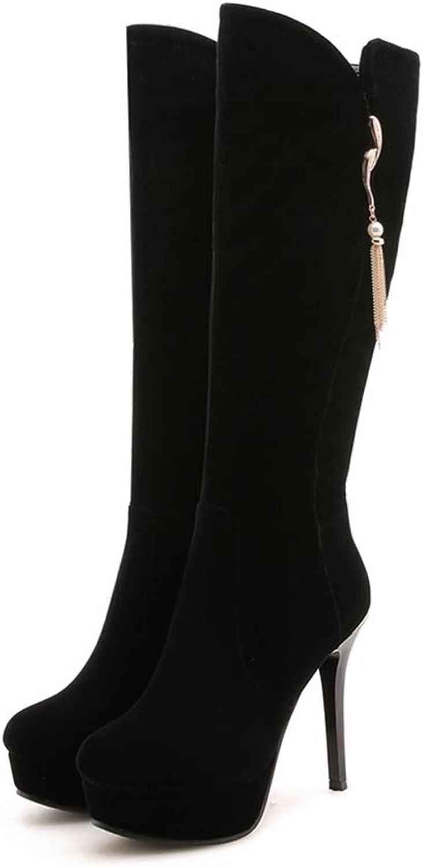 High Heel 12cm Metal Decoration Platform shoes Woman Fashion Women's Black Winter Mid Calf Boots