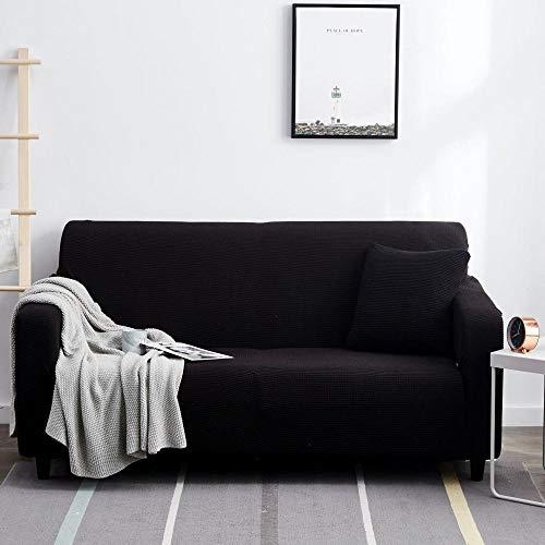 Fsogasilttlv Funda Elástica para Sofá Negro 2 plazas, Protector Grueso, Fundas de sofá Impresas sólidas para Sala de Estar, Funda de sofá, Funda de sofá de Esquina, en Forma de L, 145-185 cm 1 PCS
