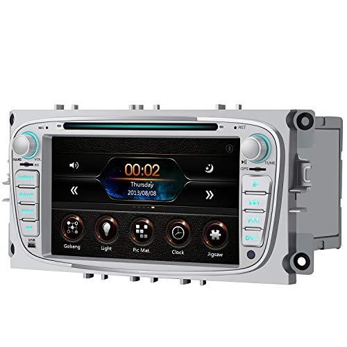 AWESAFE Autoradio für Ford Focus Mondeo, Doppel Din Radio mit Navi unterstützt Lenkrad Bedienung Bluetooth Mirrorlink CD DVD FM AM RDS - Silber
