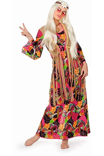 shoperama Hippie Damen Kostüm - Langes Kleid mit Fransen-Weste 60er 70er Jahre Flower Power Sixties, Größe:38