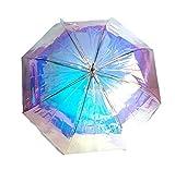 Goods4good Paraguas Mágico Cambia de Color con La Luz Multicolor Arcoíris Metalizado Gris Plateado Largo Automático Resistente Viento Mujer Hombre Regalo Diámetro 105cm Grande