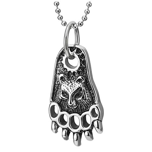 COOLSTEELANDBEYOND Mens Steel Vintage Bear Foot Paw Claw Pendant Necklace, 30 inches Ball Chain, Punk Rock