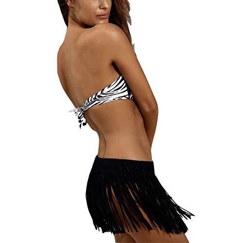 Damen-Bikini, Baderock, elastische Taille, Quaste, Minirock, Strand-Minirock, Hose, Schwarz , onesize