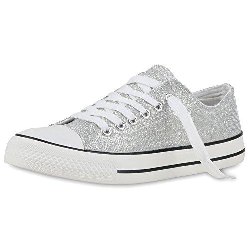SCARPE VITA Damen Sneakers Glitzer Schnürer Sportschuhe Freizeit Schuhe 160462 Silber Glitzer Glitzer 37