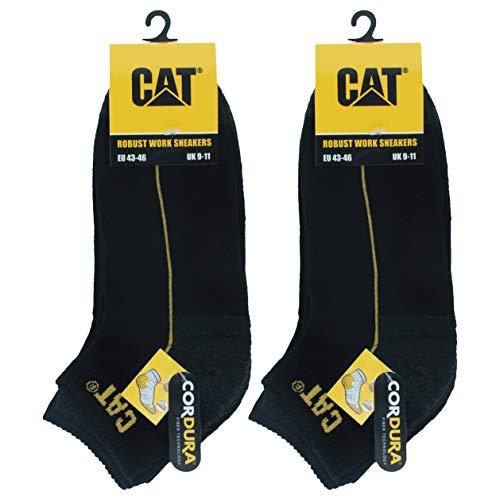 Caterpillar 6 Paar Robust Work Sneaker, Arbeitssocken aus weicher Baumwolle, verstärkte Zehen und Fersen, CORDURA Fiber Technology (Schwarz, 43-46)