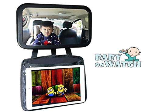 Baby Mirror for Car with Ipad Holder - XL Infant Car Mirror for Baby Rear Facing - 360° Wide Angle, Clear View, Shatterproof & Crash Tested Safety Baby Car Mirror for Back Seat with Car Tablet Holder