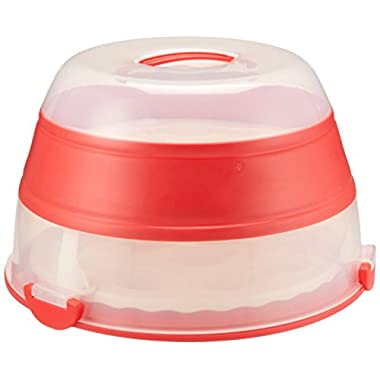 Progressive Prepworks by Collapsible Cupcake and Cake Carrier, 24 Cupcakes, 2 Layer, Easy to Transport of Muffins, Cookies or Dessert to Parties - Red