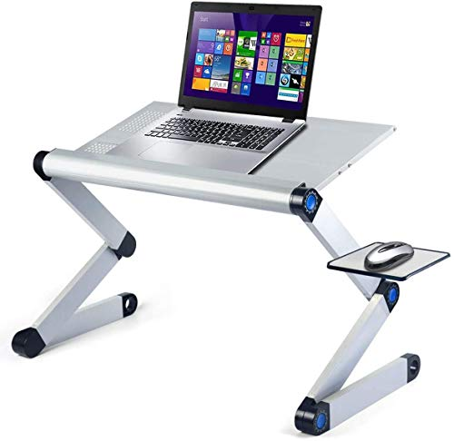 Aluminum Laptop Stand Adjustable Laptop Desk Table for Office Dorm Bed Sofa, Large 19' Ergonomic Portable Tray with CPU Cooling Fans and Mouse Pad Monitor Riser, Upgrade NO Swing