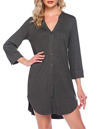 Ekouaer Button Down Nightgowns for Women Nightshirt Striped Pajama Dress Sexy Sleepwear 3/4 Sleeves Deep Grey