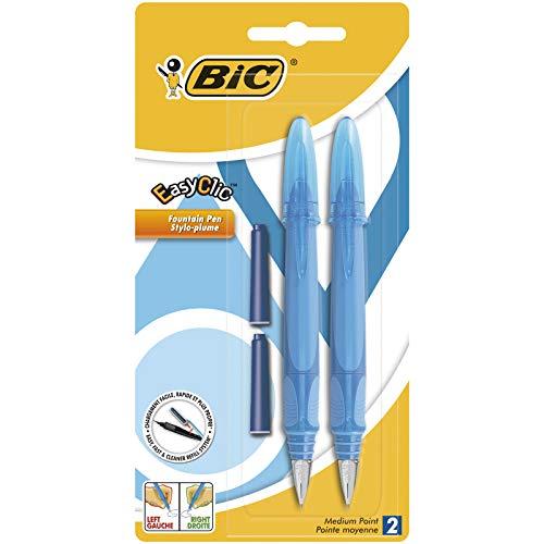 BIC EasyClic Stylos-Plume Rechargeables - Violet, Bleu ou Turquoise (sans choix possible), Blister de 2 + 2 Peties Cartouches d'Encre Bleue